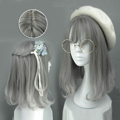 New Hot Girl Wig Gray Lolita Party Synthetic Hair Cosplay Harajuku Anime Wigs