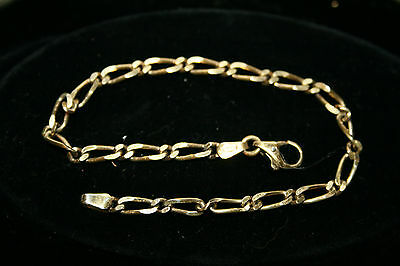 Womens Vintage 9ct Gold On Solid Silver Chain Bracelet 925 Jewellery Gift