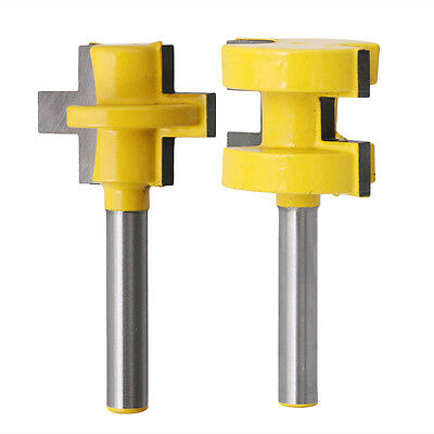 2Pcs Tongue &Groove Router Cutter Tenon Line Bit Woodworking Tool 1/4'' Shank