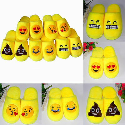 Cute Emoji Plush Unisex Slippers Cartoon Winter Warm Home Indoor Fluffy Shoes W