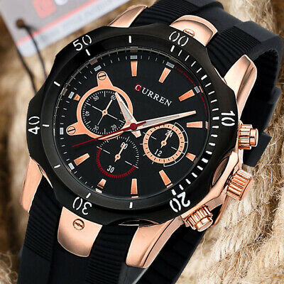 Casual CURREN Men Wrist Watch Military Army Sport Business Rose Gold Rubber Band