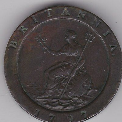 Large 1797 George Iii Cartwheel Two Pence In Very Fine Condition