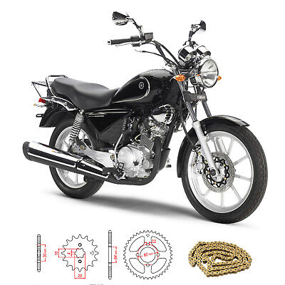 Yamaha YBR 125 Custom 27S 2008-2015 Gold Heavy Duty Chain and Sprocket Kit Set