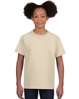 NEW BLANK PLAIN TSHIRT - Kids Beige/Sand - 100% cotton - Size XS, S, L, XL