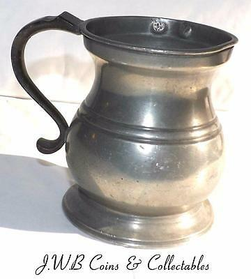 Antique Victorian Pewter Half Pint Tankard Stamped Crown VR 205