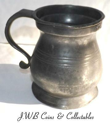 Antique Victorian Pewter Half Pint Tankard Stamped Crown VR 36 & GR 52