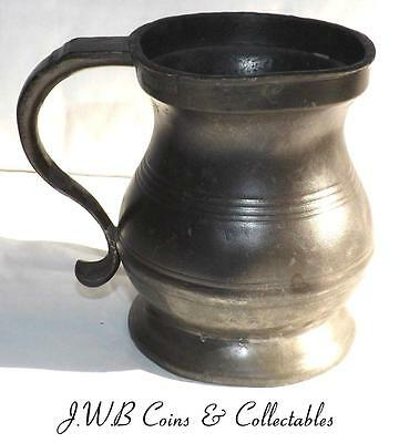 Antique Victorian Pewter Half Pint Tankard Stamped Crown VR 471 & VR 6