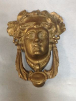 Antique Vintage Cast Brass Ornate Lady Doorknocker Part