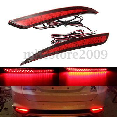 2x Red Len Reflector Rear Tail LED Bumper Brake Stop Light For Ford Fusion 13-15