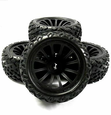 BS910-049x4 1/8 RC Nitro Monster Truck Off Road Wheels and Tyres x 4 Black