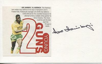 A 5 x 3 inch white card. Personally signed by Ade Akinbiyi of Norwich City.