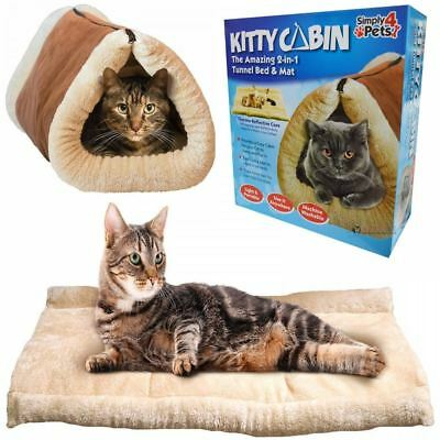 Washable Kitty Cat Kitten Dog Puppy Cabin 2in1 Thermal Tunnel Bed & Mat Blanket