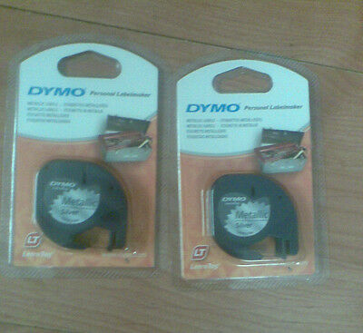 2  DYMO LETRATAG SILVER PLASTIC TAPES 91208 12mm.