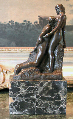 Male Female Nude Lovers Newlyweds Gift Rodin Art Bronze Marble Statue Sculpture