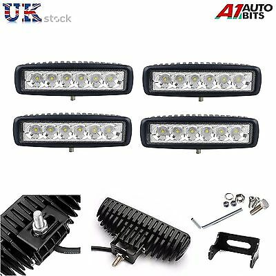 4 X 6 Inch 18W LED Work Light Bar Offroad Flood Lamps Truck Boat SUV 4WD