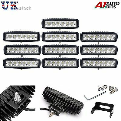 10 PCS 6 Inch 18W LED Work Light Bar Offroad Flood Lamps Truck Boat SUV 4WD