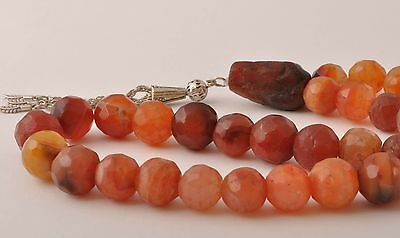 Antique Handmade faceted Carnelian Prayer beads-Tasbih-Worry Beads