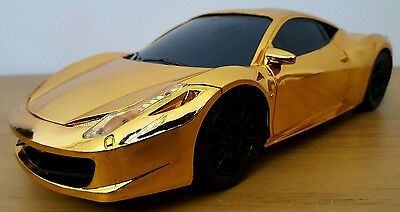 LARGE FERRARI 458 RECHARGEABLE Radio Remote Control Car FAST SPEED - GOLD 25CM