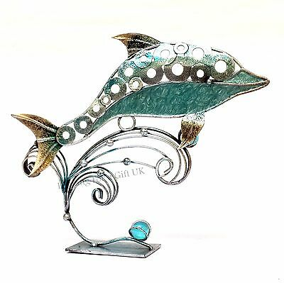 DOLPHIN TURQUOISE - metal sculpture, nautical, marine, seaside, sealife ornament