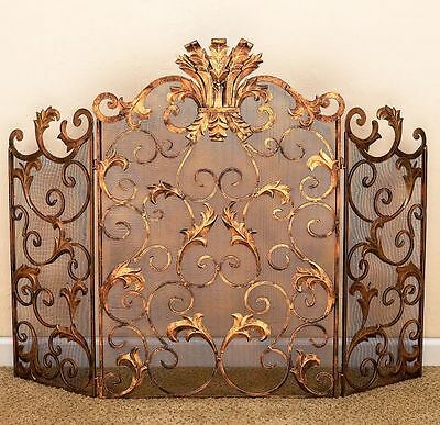 "Fireplace Screens - ""buckingham Palace"" Fireplace Screen - Antique Gold Finish"