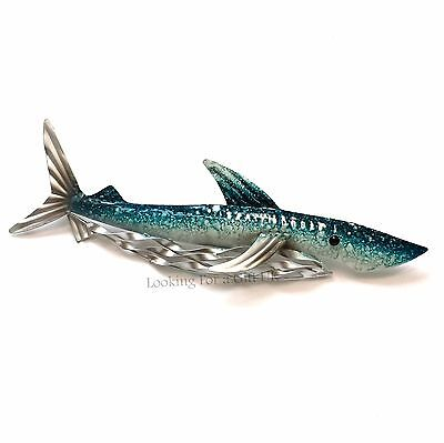 SHARK BLUE small Metal Wall Art for Indoor or Outdoor use