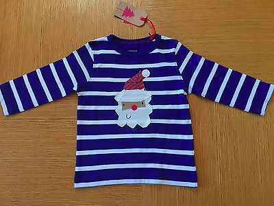 Next Boys Blue Stripe Santa Print Xmas Top Age 6-9,  9-12 Months Bnwt