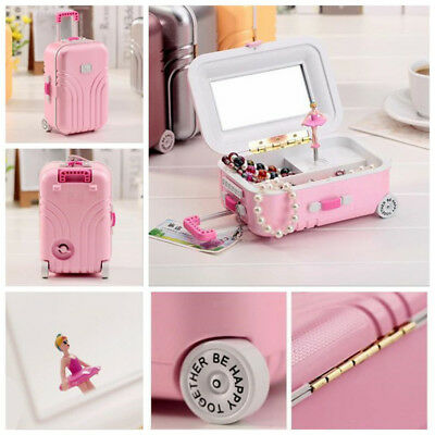 Luggage Ballet Ballerina Girl Music Box Jewelry Storage Organizer Xmas Gift Toy