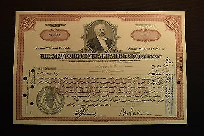 1956 The New York Central Railroad Company Stock Certificate NL33321