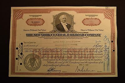 1956 The New York Central Railroad Company Stock Certificate NL33093