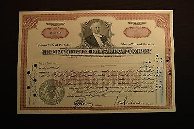 1956 The New York Central Railroad Company Stock Certificate NL33245