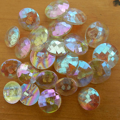 5 X glittery rainbow iridescent buttons sizes 13mm 15mm & 18mm shank on back
