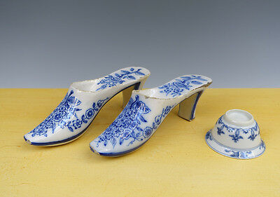 Antique Superb Pair of Dutch Delft Shoes Floral & Flowers 18TH C.