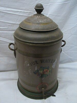 Antique stencil Decorated Ornate Ice Water Cooler Grape Handle primitive picnic