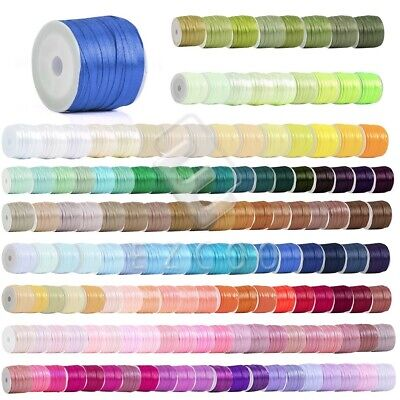 "50 Yards 1/8""3mm Satin Ribbon Craft Wedding Decoration Bows Lots BMRN0001"