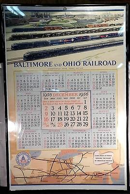 Vintage c1956 Baltimore & Ohio Railroad~B & O Lithograph Calendar~Advertisement