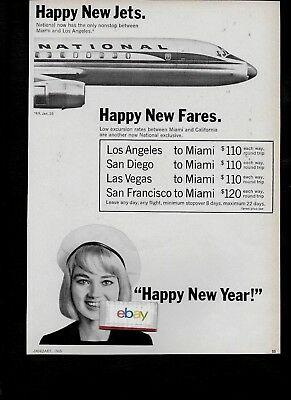 National Airlines 1965 Happy New Jets-Happy New Fares-Happy New Year F/a Ad