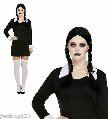 Wednesday Addams Family Fancy Dress Costume Outfit School Girl Halloween Horror  sc 1 st  PicClick & WEDNESDAY ADDAMS FAMILY Fancy Dress Costume Outfit School Girl ...