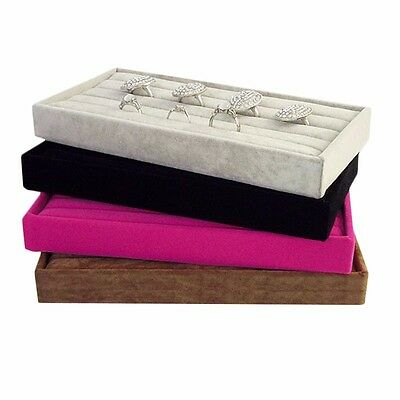 Velvet Jewelry Ring Earring Display Box Tray Holder Storage Showcase Organizer