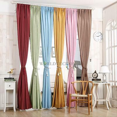 Thick Blackout Thermal Grommet Foam Lined Solid Window Curtain Treatment Drape