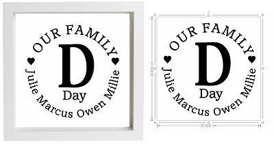 Vinyl Sticker DIY Box Frame 20x20cm Our Family - Personalise with own names