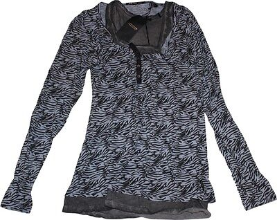 Maison Scotch Shirt mit Top NEU  Gr.4 hellblau-grau Lagenlook Zebra Animalprint