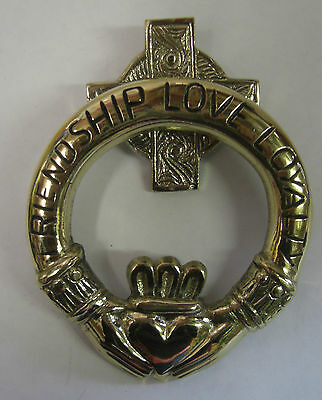 Ireland Hand Crafted Brass Claddagh Medium Friendship Love Loyalty Door Knocker