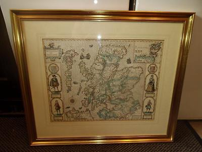 Very Large John Speed Map Of Scotland Gilt Framed Modern Reproduction Of 1610
