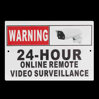 Warning 24 Hour Online Remote Video Surveillance Sign Camera Security CCTV Metal