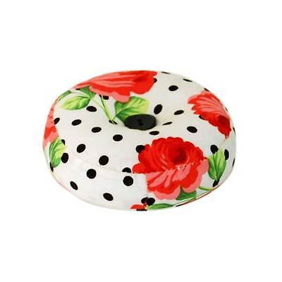 Round Polka Dotted 'Scarlette' Pincushion with Rose Print & Single Black Button