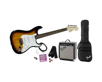 Squier by Fender Stratocaster Electric Guitar Package with 10w Amp, Sunburst