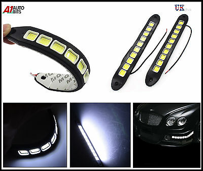 2x Flexible Silicone COB 20W 10 LED Car DRL Driving Daytime Running Light Lamps