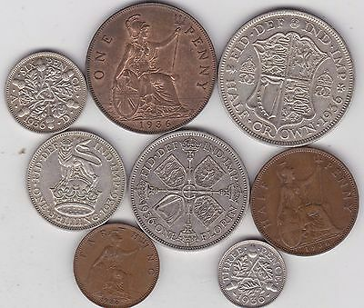 1936 George V Set Of 8 Coins In Good Fine Or Better Condition