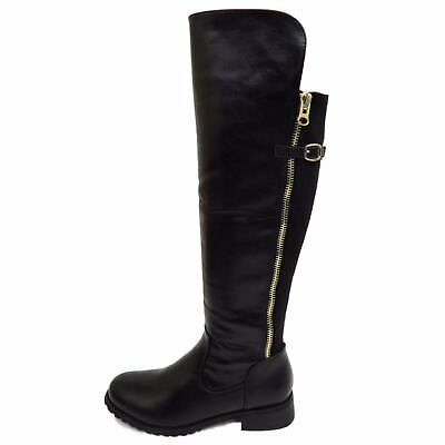 Ladies Dolcis Flat Black Knee-High Riding Zip-Up Calf Tall Winter Boots Shoes