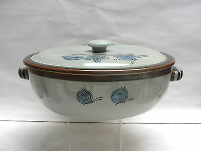 "EL PALOMAR MEXICAN ART POTTERY - TONALA / BLUE Pattern - 11"" COVERED CASSEROLE"